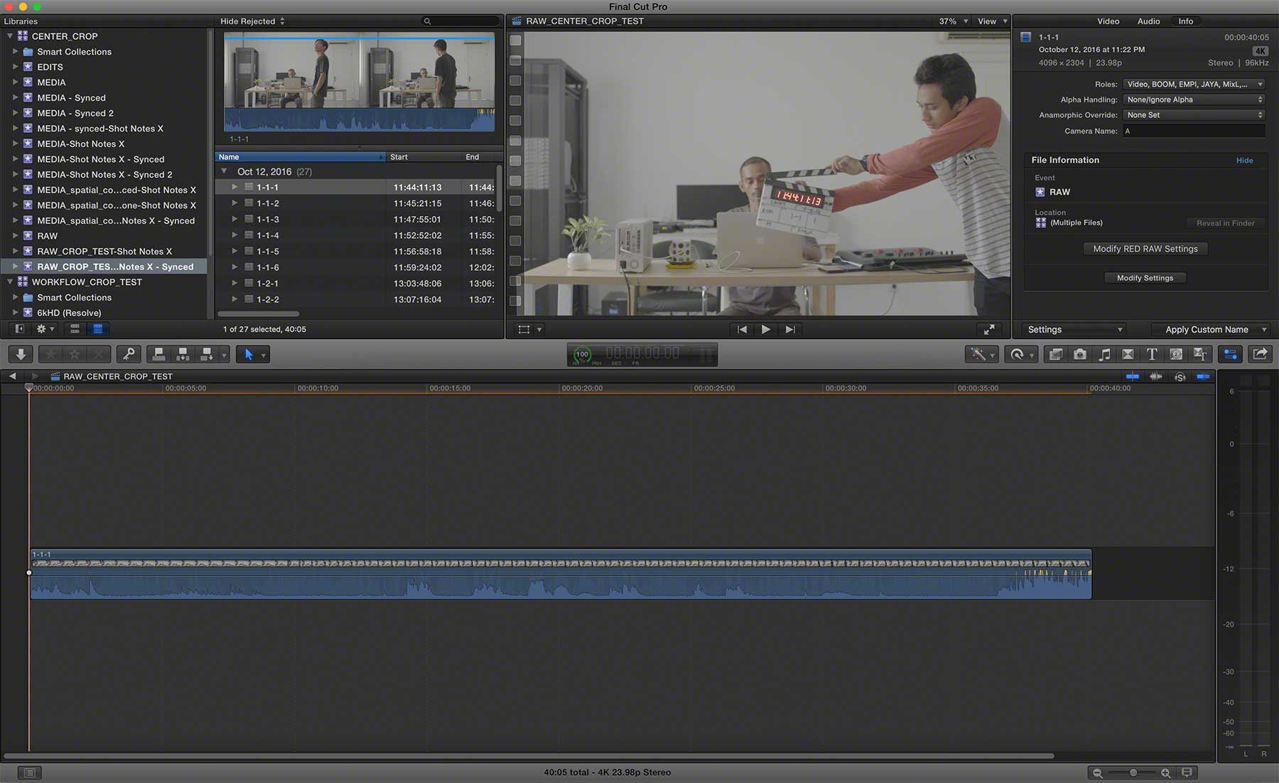 FCPX REDRAW CENTER EXTRACTION