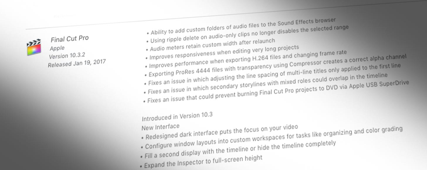 Final Cut Pro X updated to 10.3.2, Motion to 5.3.1 and Compressor to 4.3.1