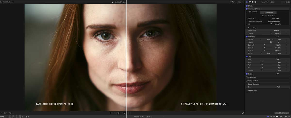 FCPX fcnitrate lut export